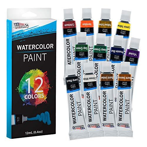 U.S. Art Supply 12ml Premium Vivid Watercolor Artist Aluminum Tube Paint Set (12-Colors)