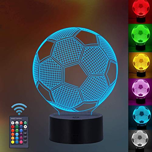 Sgualie 3D Football Illusion Lamp, 3D Night Light for Boys Girls Table Desk Lamp 7 Color Changing Home Decoration Acrylic LED Art Sculpture Lights with Remote Control