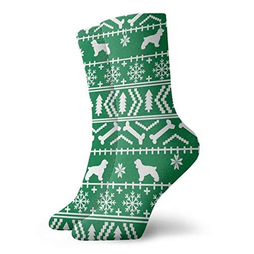 Nifdhkw Cocker Spaniel Navidad Raza de Perro Se admiten Mascotas Vacaciones Verde Divertido Novedad Calcetines de Tobillo Crew Knit Funky Calce