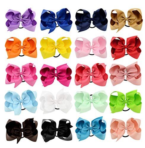 20 colori alta qualità Boutique Ribbon Bow con capelli elastici cute Pinwheel accessori per capelli per bambine