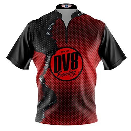 Logo Infusion Bowling Dye-Sublimated Jersey (Sash Collar) - DV8 Style 0319 - Sizes S-3XL (L) Red Black