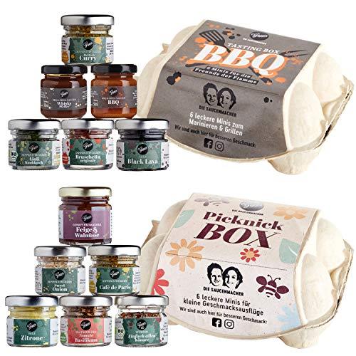 Gepp's Feinkost Tastingduo Geschenkset mit 12 leckeren Minis - Gewürze, Dips, Saucen und Konfitüren I BBQ Tasting Box zum Marinieren & Grillen I Picknick Box für Geschmacksausflüge (A0035)