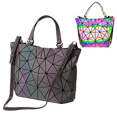 Parnerme Ecopelle luminosa in pelle PU Borse e borse uniche Shard Lattice Eco-Friendly in pelle Borsa olografica arcobaleno per donna Grande Tote Bag (Colorful-2)