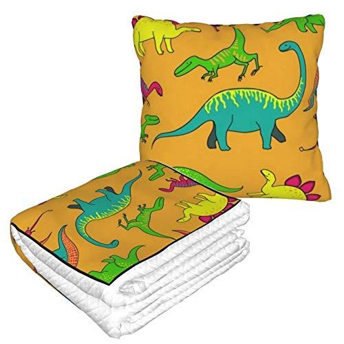 XCNGG Colección Divertida de Franela de Dinosaurio, Suave y acogedora, Cama o sofá, Mantas de Almohada