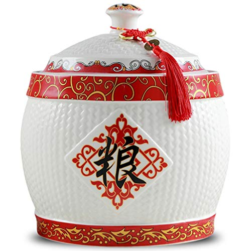 Food Storage Containe Sealed Storage Tank, Ceramic Rice Cylinder With Lid, Large Capacity Cat And Dog Food Storage Bucket, Chinese Style Design, Holiday Gifts (Color : White, Size : 3530cm)