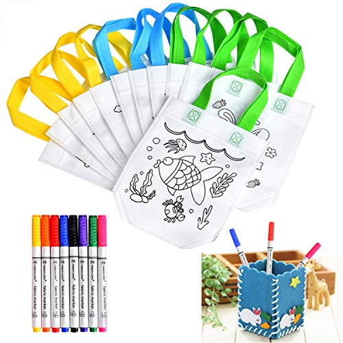 Queta Kinder Tasche zum bemalen 12 X DIY Graffiti Taschen, 8 X Textilstifte,1 X DIY Vliesstoff Stifthalter Perfekt DIY Geschenkideen Non-Woven-Tasche zum selber bemalen