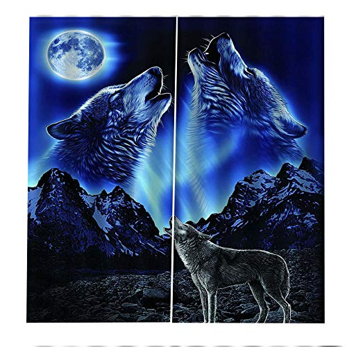RYQRP Window Curtain Moon Wolf Blackout Curtains Photo Print Super Soft Thermal Insulated 100% Polyester Window Treatment for Children's Bedroom Living room Bathroom Decoration 140x160cm