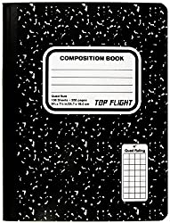 small Sewing top flight marble composition, black and white, square ruler, 4 squares per inch, 9.75 x 7.5…