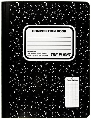 Top Flight Sewn Marble Composition Book, Black/White, Quad Rule, 4 Squares per Inch, 9.75 x 7.5 Inches, 100 Sheets (41320) by Top Flight