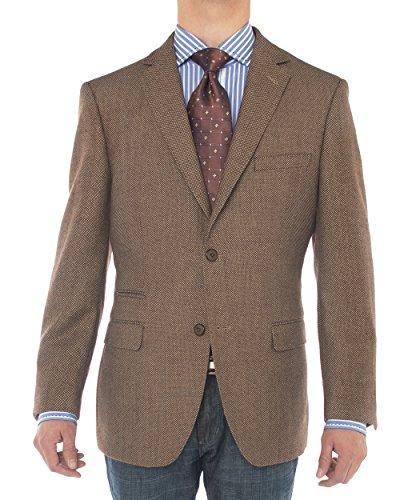 Luciano Natazzi Men's 2 Button 160'S Wool Suit Jacket Working Buttonholes Blazer (40 Regular US / 50R EU, Brown)