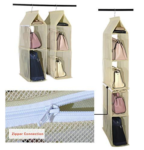 Organizador de armario ropero para colgar compuesto por 4 compartimentos desmontables, transparentes, ahorro de espacio, para uso en hogar, salón, do, color Beige