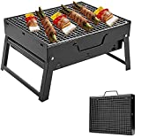 Parrilla de barbacoa al aire libre, portátil plegable de carbón de leña de mesa de acero inoxidable ahumador barbacoa para picnic jardín terraza