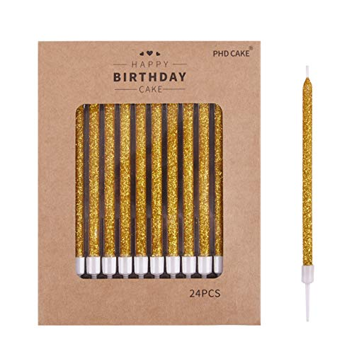 PHD CAKE 24-Count Glitter Long Thin Birthday Candles for Cake Party, Wedding Party, Anniversary Candles, Cake Candle (Full Glitter)