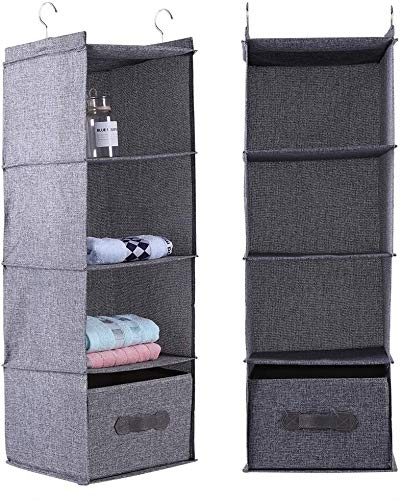 Colgar Armario Organizador Ropa Ropa Titular de almacenamiento 4 estantes con cajón Colgando la caja de almacenamiento de ropa(Gris)