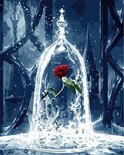 YEESAM ART Neuheiten Malen nach Zahlen Erwachsene Kinder, Rosen in Glaskuppel, Verzauberte Rosenblüten, Die Schöne und das Biest 40x50 cm Leinen Segeltuch, DIY ölgemälde Weihnachten Geschenke