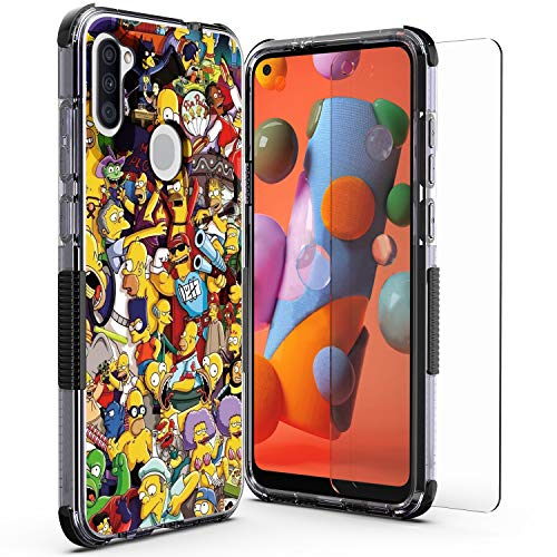 WZOKA for Samsung Galaxy A11 Case with Tempered Glass Screen Protector, Protective Shockproof Floral Case for Galaxy A11 (Simpsons Black)