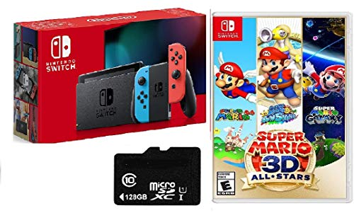 """Newest Nintendo Switch 32GB Console with Red-Blue Joy-Con, 6.2"""" Touchscreen 1280x720 LCD Display, 802.11AC WiFi, Bluetooth 4.1, HDMI, Bundled with Super Mario 3D All-Stars & 128GB Micro SD Card"""