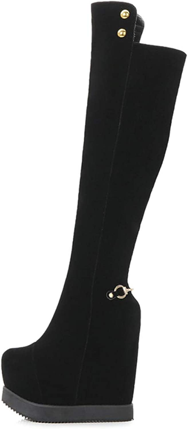 Womens Boots Knee Boots with Wedge Heel Non-Slip High Boots Warm Outdoor Hidden Heels Boots for Fall Winter