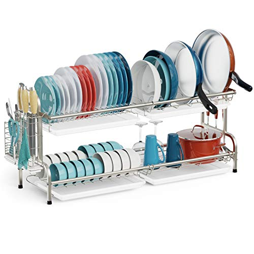 Dish Drying Rack, iSPECLE 2 Tier Dish Rack Large for Pots and Pans, 304 Stainless Steel Dish Drainer with Drainboard for Kitchen Countertop, Silver