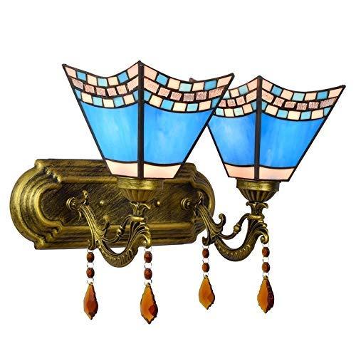 DALUXE Lámpara de Pared Tiffany Lámpara de Pared Azul mediterránea británica Dormitorio Creativo Dormitorio Noche Color Clásico Lámpara de Cristal de Doble Cabeza