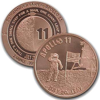 1 oz .999 Pure Copper Round/Challenge Coin  Apollo 11 50th Anniversary