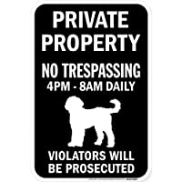 PRIVATE PROPERTY ブラックマグネットサイン:ゴールデンドゥードル シルエット 英語 私有地 無断立入禁止