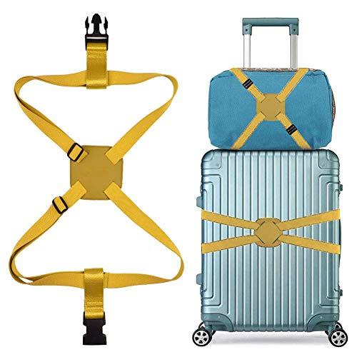 スーツケースベルト バッグとめるベルト ずり落ち防止 ゴム 調整可能 軽量 持ち便利 旅行 出張 イェロー