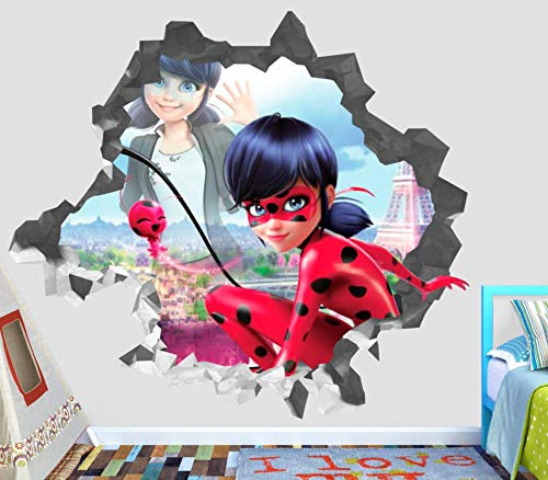 HUAXUE Magical Ladybug Wandtattoo Smashed 3D Sticker Decoration Vinyl