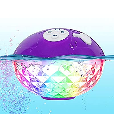 FirstE Floating Bluetooth Speaker Colorful Lights Changing, Portable Wireless Speakers for iPhone, Mic Hands-free Call, IPX7 Waterproof Shower Speaker for Hot Tub Spa Pool Jacuzzi Beach Party (Purple) by HKeu