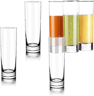 Lhx Transparent Base High Pole Bar Glass, Drinking Glasses Straight Cup For Water, Juice, Beer, And Cocktail 9.8 oz, 6.5 inches Tall (Set of 6) (Large)