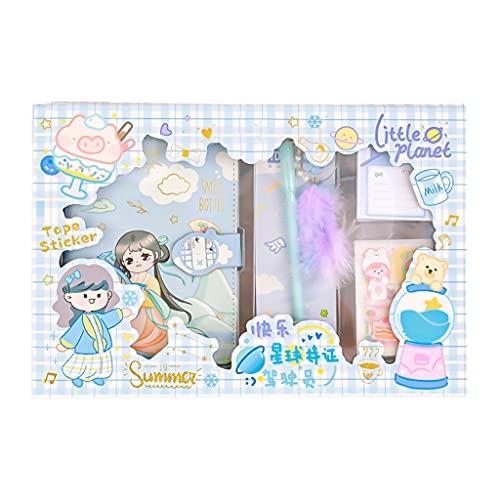 TSBB Lindo Juego de álbumes de Recortes de Dibujos Animados 112 Hojas de Papel Rayado Decorativo Xtickers Pluma Colgante de Gel bolígrafo Regalo de cumpleaños para niños