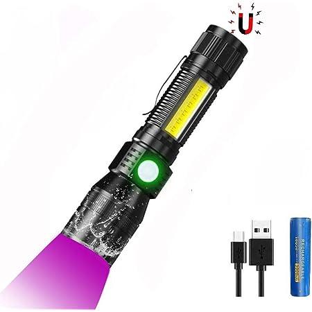 mit 3000mAh 18650 Akku UV Taschenlampen mit 395nm UV Lampe Schwarzlicht f/ür Banknoten iToncs Wasserdicht COB Taktische Taschenlampe Magnet Taschenlampe LED USB Aufladbar Urin von Haustiere