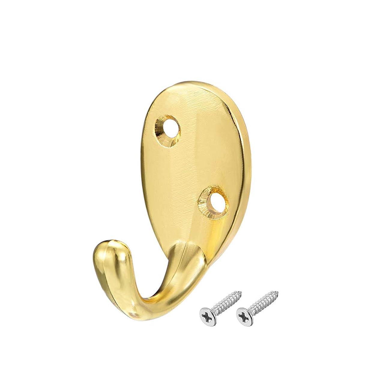 遠近法独立した気候uxcell 壁マウントフック ローブフック 服ハンガー ジンク合金製 ゴールドトーン ネジ入 10個入