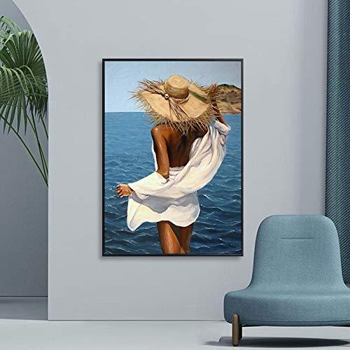 DIY Pintar por números Moda sexy bikini mujer arte hermoso océano playa pintura pintar por numeros acrilico Con kits de pincel y pintura acrílica Tema Arte digital de pared pa50x70cm(Sin marco)