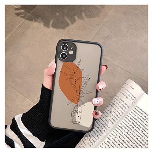 Art Retro Abstract Geometry Funda para teléfono para iPhone 12 X XS MAX XR 11 Pro MAX 7 7 Puls 6 6S 7 8 Puls SE 2020 Linda Funda anticaída, Black Art 6, para iPhone 11 Pro