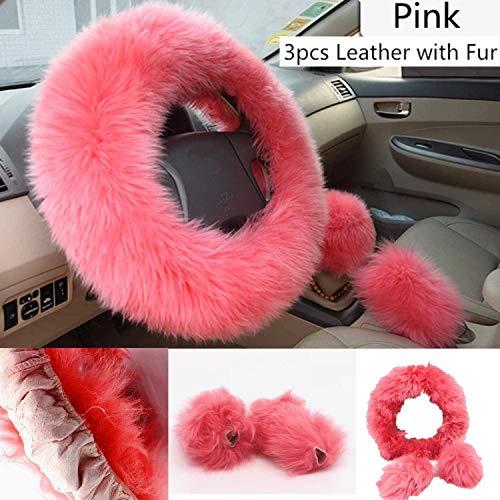Mioke 3pcs couverture de volant de voiture Universelle, 100% laine d'Australie, Housse de volant d'hiver 37–39 cm (Rose)