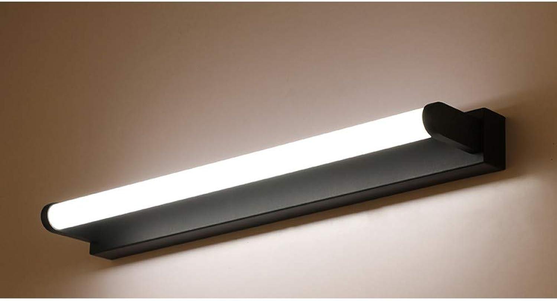 T-YJQD Spiegelfrontleuchte Bad Wasserdichter Nebel Nordic modern einfache Ankleide Lampe Bad Wasserdicht Spiegel Licht schwarz neutrales Licht, 51cm, 12w
