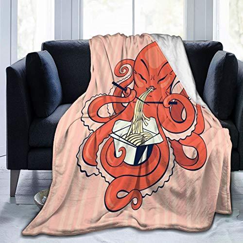 SUHETI Manta de Franela Suave,Un Pulpo de Dibujos Animados Comiendo Fideos asiáticos con Palillos en tentáculos Estilo Retro,Cama de Camping para sofá 204x153cm