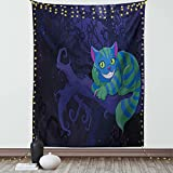 Ambesonne Alice in Wonderland Tapestry, Chester Cat Sitting on Branch Forest Character, Wall Hanging for Bedroom Living Room Dorm Decor, 40' X 60', Green Blue Purple