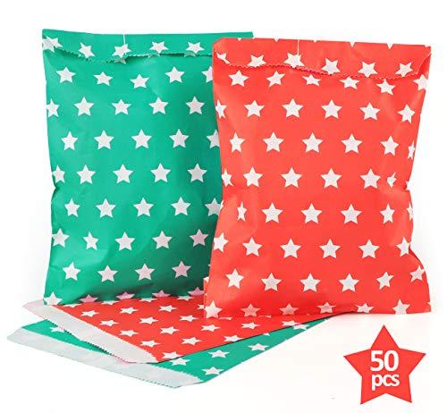 ABSOFINE Papiertüten Sternen Geschenktüten Papier Süßigkeiten Papiertüten für Ostern Hochzeit Geburtstag Feier Parteien 50 Stück 2 Designs mit je 25 Papiertüten Rot & Grün
