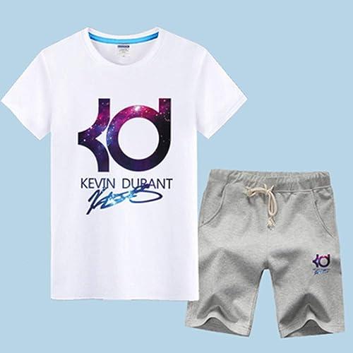 QAZ NBA T-Shirt Maillot NBA Ensemble oren State Warriors Kevin Durant   35 T-Shirt De Sport De Basket-Ball pour Hommes VêteHommests De Formation à Manches Courtes courtes Sweat-Shirt,blanc2-XXL