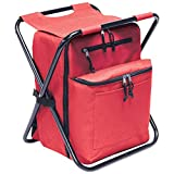 Preferred Nation Seated Cooler Backpack, 3 in 1 Portable Camping Backpack with Cooler and Folding Chair Stool, Leak Proof | Great for Fishing, Camping, Outdoor Events, Picnics or Beach Red