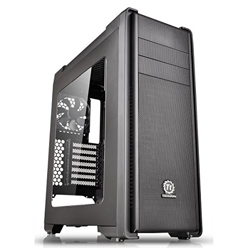Thermaltake CA-1G8-00M1WN-00 Versa C21 Mid Tower Case with Side Window and RGB LED - Black