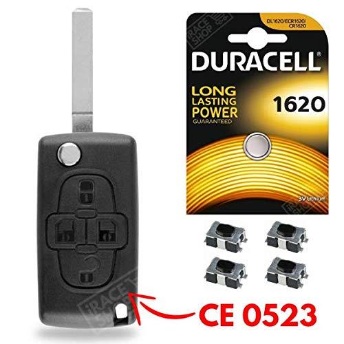Coque de Télécommande Boitier Clé Plip Peugeot 1007/807 ✚ 4 Connecteurs Switch ✚ Pile CR1620 DURACELL - Kit iRace Keys®
