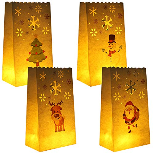 URATOT 24 Pieces White Luminary Bags Paper Luminaries Lantern Flame-Resistant Candle Bags with 4 Styles Christmas Designs for Home, Christmas, Outdoor, Party Decor