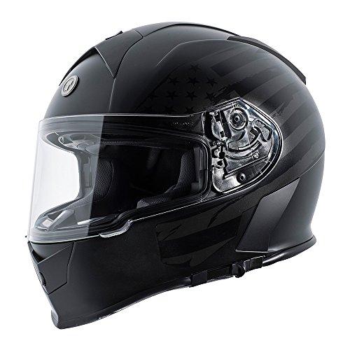 TORC Men's Full Face Helmet (Flat Black Flag, Large)
