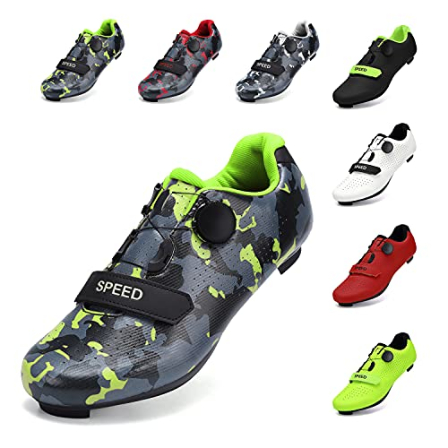SWISSWELL Men's Road Cycling Shoes Compatible Mountain Bike with SPD/SPD-SL & Fast Rotating Buckle (Camouflage Green,16 Women/13 Men)