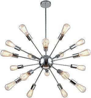 mirrea Vintage Metal Large Dimmable Sputnik Chandelier with 18 Lights Chromed Finish