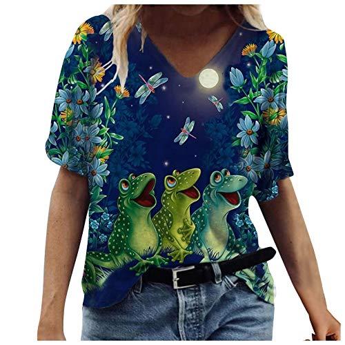 Camisetas Manga Corta Mujer Baratas, Casual T-Shirt con Estampado Verano Originales Suelto Cuello Redondo Tallas Grandes Tops Deporte Blusa Camisa de Vestir tee Shirts Basicas Ropa (#06 Armada, M)
