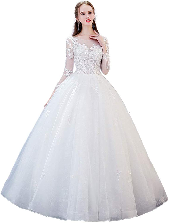 Wedding Evening Dress Women's Lace Top Wedding Bridesmaid Dress Prom Dress Evening Dress One Shoulder Wedding Dress (color   White, Size   M)